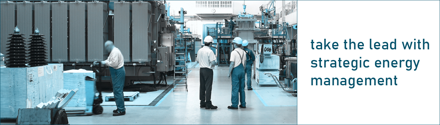 take the lead with strategic energy management. ingenieurs inspecting production facility