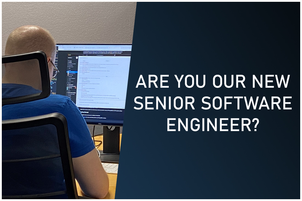 software developer sitting at his computer. Text says are you our new senior software engineer